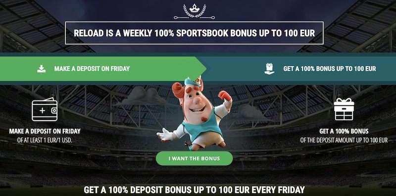 Stavnica 22bet reload bonus 100 eur